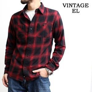 ヴィンテージイーエル VINTAGE E.L. チェックシャツ ネルシャツ オンブレーチェック 長袖シャツ メンズ (02-76801)|rockingchair2822