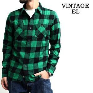 ヴィンテージイーエル VINTAGE E.L. チェックシャツ ネルシャツ ブロックチェック バッファローチェック 長袖シャツ メンズ (02-76802)|rockingchair2822