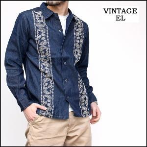 ヴィンテージイーエル VINTAGE E.L. ビンテージEL デニムシャツ オープンカラーシャツ 開襟シャツ デニム 長袖シャツ 刺繍 メンズ ブランド (02-77208)|rockingchair2822