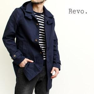 レヴォ revo メンズ ステンカラー コート ストレッチ ライトアウター ビジネス カジュアル おしゃれ トラッド ナチュラル シンプル (26-th1892)|rockingchair2822