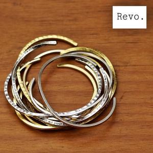 レヴォ Revo. レボ バングル ブレスレット 腕輪 真鍮 ブラス バングル 細身 無地 刻印 ねじれ ゴールド シルバー メンズ レディース (26-thg090)|rockingchair2822