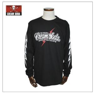 クリームソーダ   CS50thイナズマロゴロングTシャツ  ブラック CREAM SODA|rockinkojima-ya