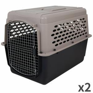 ペットメイト バリケンネル 70-90lbs (31.7-40.8kg) 犬用 トープ/ブラック×2...