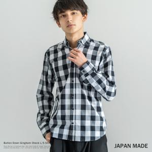 ボタンダウンシャツ メンズ ギンガム チェックシャツ 長袖 日本製 ブロードシャツ|rockymonroe