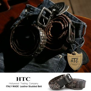 HTC ベルト 本革 カウレザー スタッズ メンズ|rockymonroe