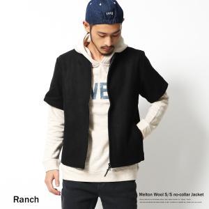 ノーカラージャケット メンズ ウールジャケット メルトン ウール 半袖 ブルゾン|rockymonroe