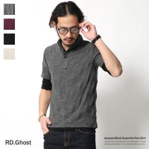 ポロシャツ メンズ 半袖 無地 ブロックチェック ボタンダウン 2点セット レイヤード ドット ビズポロ ビジネス|rockymonroe