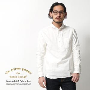 プルオーバーシャツ メンズ 日本製 シャンブレー ラウンドカラー 丸襟 国産 rockymonroe