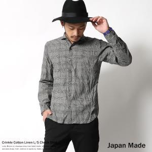 リネンシャツ メンズ 綿麻 日本製 国産 クリンクル グレンチェック 長袖|rockymonroe