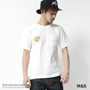 Tシャツ 刺繍 メンズ ポケットTシャツ ベトナムT クルーネック 半袖|rockymonroe