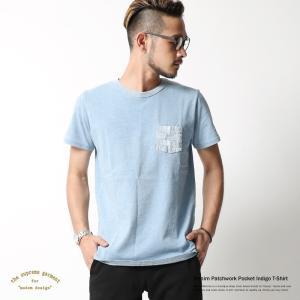 Tシャツ メンズ インディゴ ポケット パッチワーク 半袖 クルーネック 無地 rockymonroe