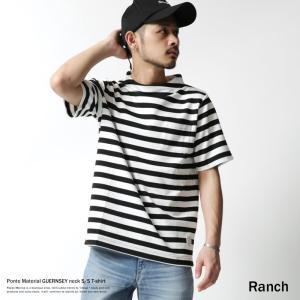 Tシャツ メンズ ポンチ素材 カットソー 半袖 ガンジーネック ボーダー rockymonroe