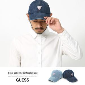 GUESS キャップ デニム メンズ 帽子 ベースボールキャップ ローキャップ ロゴ インディゴ|rockymonroe
