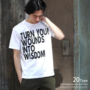Tシャツ メンズ プリント 半袖 クルーネック モノトーン 英字 カジュアル アメカジ