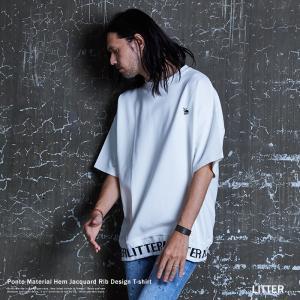 Tシャツ カットソー メンズ ジャガード 半袖 ブランドロゴ 無地 シンプル 刺繍 ワンポイント ク...