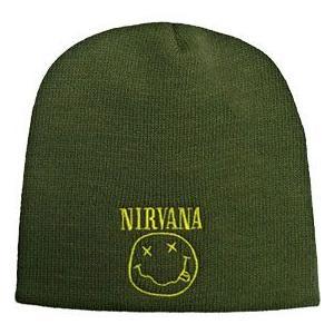 NIRVANA ニット帽 SMILE Olive Beanie 正規品|rockyou