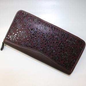 印伝長財布 印傳屋上原勇七 INDEN-YA No.2313束入れ 163ローズ 紫地黒漆|roco