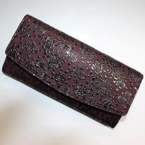 印伝長財布 印傳屋上原勇七 INDEN-YA No.2314束入れ 163ローズ 紫地黒漆|roco