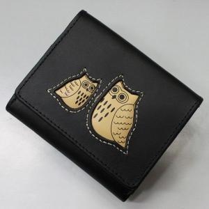 ふくろう福財布 本革 折り財布 ブラック #2W17-BLACK|roco