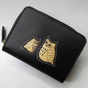 ふくろう福財布 本革 折り財布 ブラック #2W18-BLACK|roco