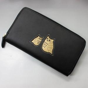 ふくろう福財布 本革 長財布 ブラック #2W21-BLACK|roco