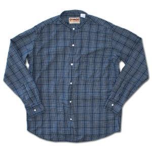 CAMCO(カムコ) バンドカラーマドラスチェック長袖シャツ ダークブルー|roco