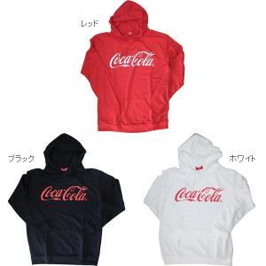 Coca-Cola(コカ・コーラ) ロゴプリント ミニ裏毛スウェットパーカー ブラック ホワイト レッド 黒 白 赤 トレーナー roco