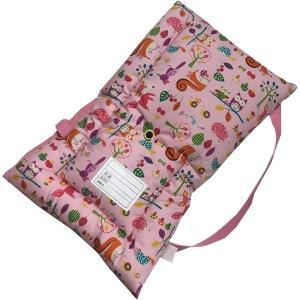 日本製防災クッション [森のどうぶつピンク] 約30cm×45cm Sサイズ 幼児から小学生低学年向け 防災頭巾 防災ずきん 子供用 こども用|roco