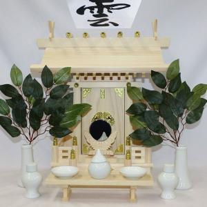 東濃桧製神棚 大神明(だいしんめい) 日本製 一社神棚(神棚セット/神前用具7種セット中と造花榊付き) roco