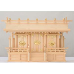 木曽桧製神棚 通し屋根三社神棚 サイズ:中 丸柱(まるばしら) 日本製|roco