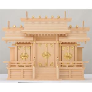 木曽桧製神棚 屋根違い三社神棚 サイズ:中 日本製|roco