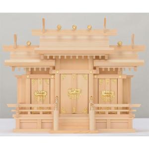 木曽桧製神棚 屋根違い三社神棚 サイズ:小 日本製|roco