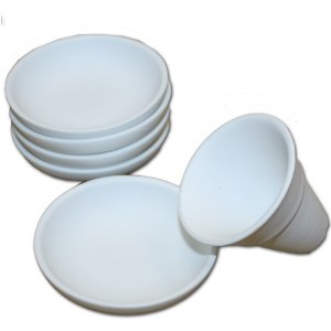 丸皿盛り塩セット(素焼き皿5枚+盛塩固め器)|roco