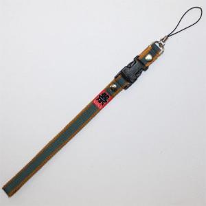 お祭用品 携帯ストラップ 真田紐 16茶/青緑 roco