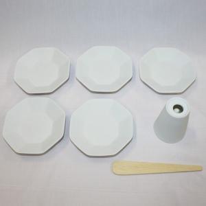 風水で吉とされる八角形 八角盛り塩セット(八角素焼き皿5枚+盛塩固め器+笏型へラ) レギュラーサイズ|roco|02