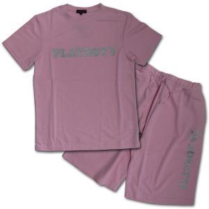 PLAYBOY(プレイボーイ) ラメプリント半袖Tシャツ セットアップ (21) ライトピンク|roco