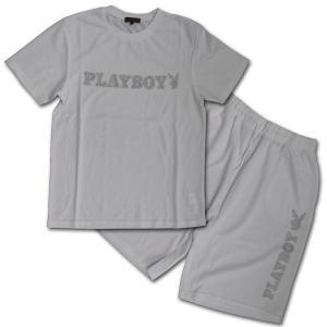 PLAYBOY(プレイボーイ) ラメプリント半袖Tシャツ セットアップ (21) ホワイト|roco