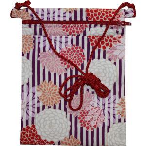 お祭用品 ポーチ大寸 縞菊 [紫] R902-30 ショルダー/小物入れ/和柄 roco