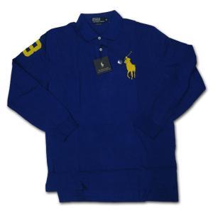 PoloRalphLauren(ラルフローレン)ビッグポニー 鹿の子長袖ポロシャツ ロイヤルブルー/イエロー|roco