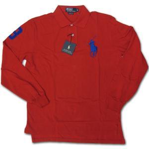 PoloRalphLauren(ラルフローレン)ビッグポニー 鹿の子長袖ポロシャツ レッド/ブルー|roco