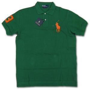 PoloRalphLauren(ラルフローレン)ビッグポニー 鹿の子半袖ポロシャツ カスタムフィット GREEN/ORANGE|roco