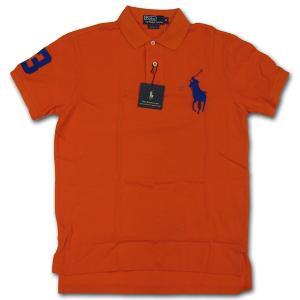 PoloRalphLauren(ラルフローレン)ビッグポニー 鹿の子半袖ポロシャツ カスタムフィット ORANGE/BLUE|roco