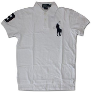 PoloRalphLauren(ラルフローレン)ビッグポニー 鹿の子半袖ポロシャツ カスタムフィット WHITE/NAVY|roco