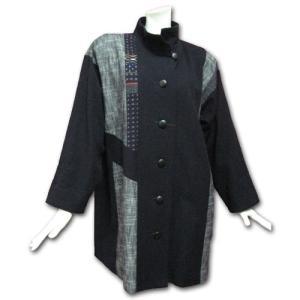 彩藍(さいあい) No.8095スタンドカラー切り替えジャケット 紺|roco