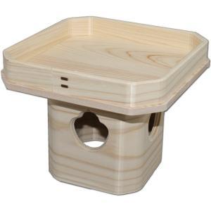 吉野桧使用 ひのき三宝 6号(高さ14.5cm/巾18.7×18.7cm) お正月の鏡餅台 神具 三方 roco