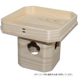 吉野桧使用 ひのき三宝 8号(高さ18.5cm/巾24.8×24.8cm) お正月の鏡餅台 神具 三方 roco