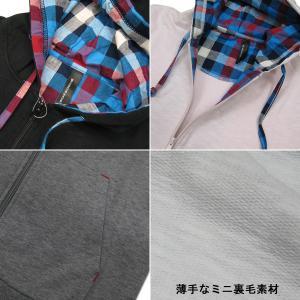 ミニ裏毛スラブ フルジップスウェットパーカ ブロックチェック|roco|02