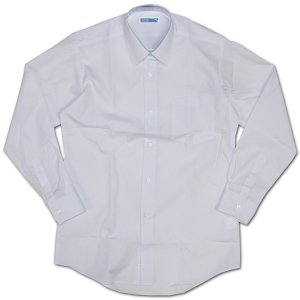 MIND NOTE 形態安定メンズ長袖スクールワイシャツ  ホワイト(蛍光白) 男性用/学校衣料/学生衣料/学生服|roco