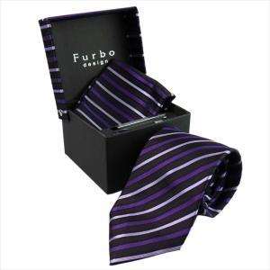 Furbo design ネクタイ&タイバー&カフス&チーフ 4点SET 21011681color3 733142 403 パープル系 約8.5cm フルボ デザイン|rocobi