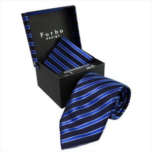 Furbo design ネクタイ&タイバー&カフス&チーフ 4点SET 21078501color4 733361 406 ネイビー系 約8.5cm フルボ デザイン|rocobi